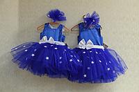 """Нарядное платье на девочку """" Белые звездочки на синем фоне"""""""