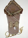 """Зимний велюровый набор для новорожденных """"Очарование"""", (молочный шоколад), 3-х предметный, фото 2"""
