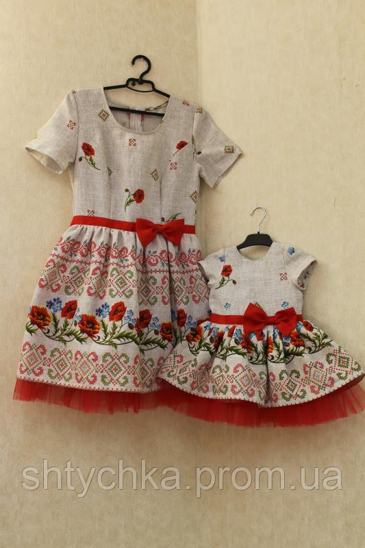 """Нарядные платья на маму и доченьку в стиле Фемели лук """"Укр стиль с фатином"""" и рукавами"""