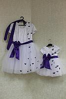 """Нарядные платья на маму и доченьку в стиле Фемели лук """"Балеринка с фиолетовыми бабочками"""" и рукавчиками"""