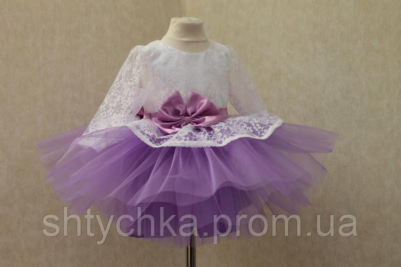 """Нарядное платье на девочку """"Карамелька 2 """" с рукавами и сиреневым фатином"""