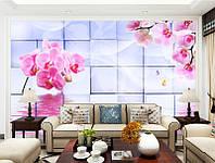 """3D фотообои """"Розовые орхидеи, отражение"""""""