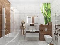 Зеркало для ванной комнаты с LED подсветкой 800*600 с полкой с рисунком D35 с включателем кнопкой