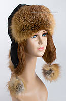 Женская шапка ушанка из меха лисы