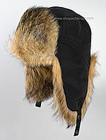 Мужская шапка-ушанка из меха шакала