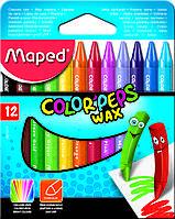 Мелки восковые 12 цветов COLOR PEPS Wax Crayons, Maped