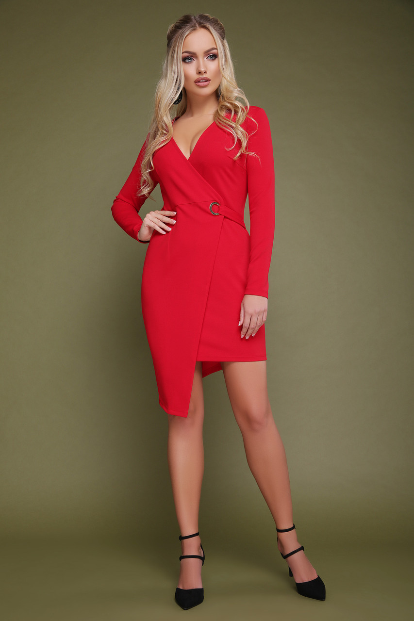 Платье короткое на запах красное