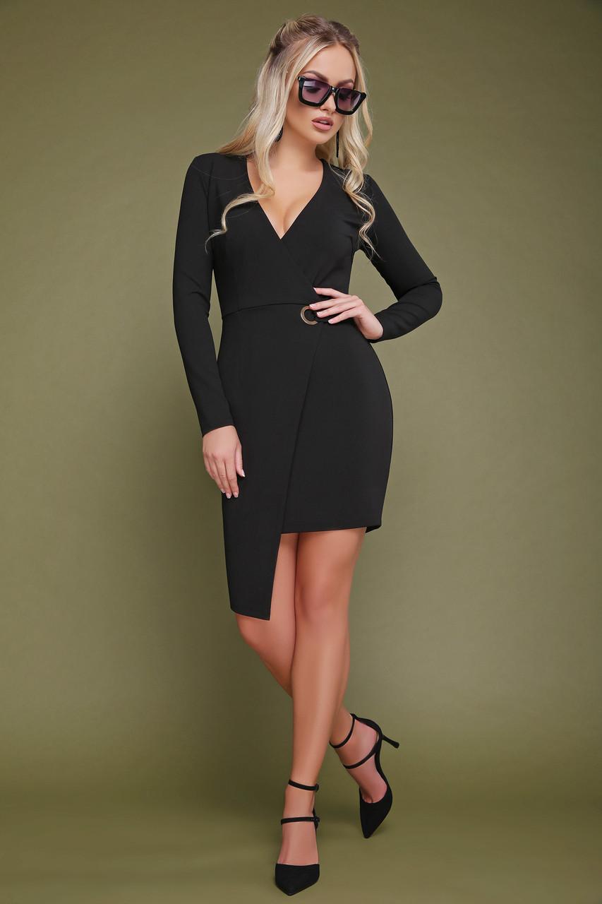 Черное платье на запах короткое