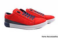 Туфли мужские Visazh нубук, натуральная кожа, цвет красный (демисезонные, платформа, шнуровка, Украина)
