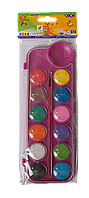 Краски акварельные 12 цветов, с кисточкой, розовый ZB.6559-10, ZiBi