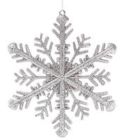 Снежинка 28 см, пластик, цвет: серебро (12 шт в упаковке)