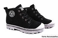 Ботинки женские Li Fexpert комфорт эко-замш черные (спортивный стиль, стильные, каблук, эко-кожа)