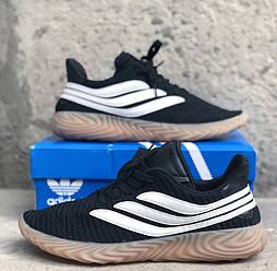 Мужские кроссовки Adidas Sobakov Black White. Живое фото. Топ реплика ААА+