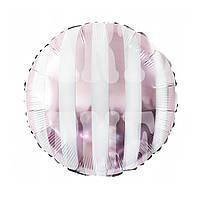 Фольгированный шар 18' Китай полосатыйрозовый, 45 см