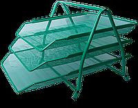 """Лоток для бумаги горизонтальный """"3 в1"""" BUROMAX, металлический, зеленый BM.6252-04 Buromax (импорт)"""