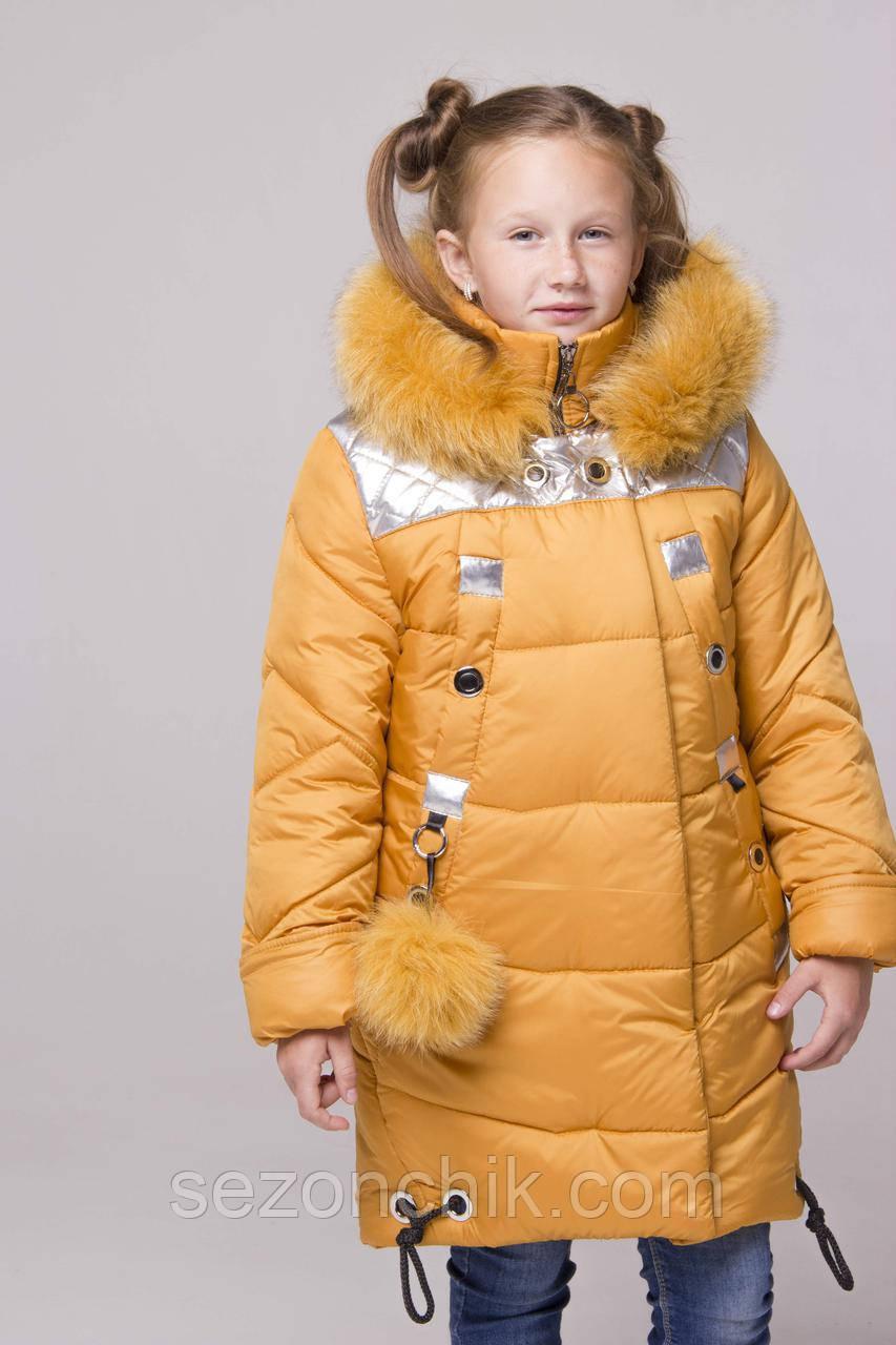 Куртку зимнюю для девочки с мехом на капюшоне теплую