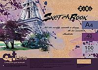 Скетчбук А4, 40 листов, пружина, кремовый блок 100 гм2, ART Line ZB.1481 ZiBi (отеч.пр-во)