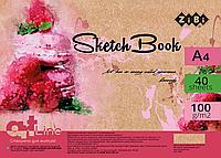 Альбом для рисования А4 40 листов пружина белый блок ZiBi