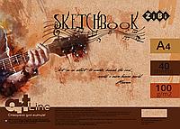 Скетчбук А4, 40 листов, пружина, белый блок 100 гм2 ZB.1486 ZiBi (отеч.пр-во)