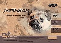 Альбом для рисованияА4, 40 листов, пружина, кремовий блок 100 гм2, ZiBi