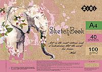 Альбом для рисования А4, 40 листов, пружина, белый блок 100 гм2 ZiBi