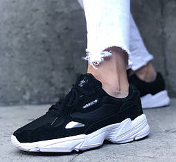 Женские кроссовки Adidas falcon black white черные осень/весна демисезонные. Живое фото. Replic