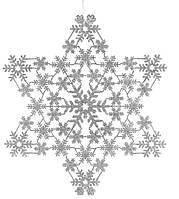Новогоднее украшение Снежинки 32 см, цвет: серебро (12 шт в упаковке)