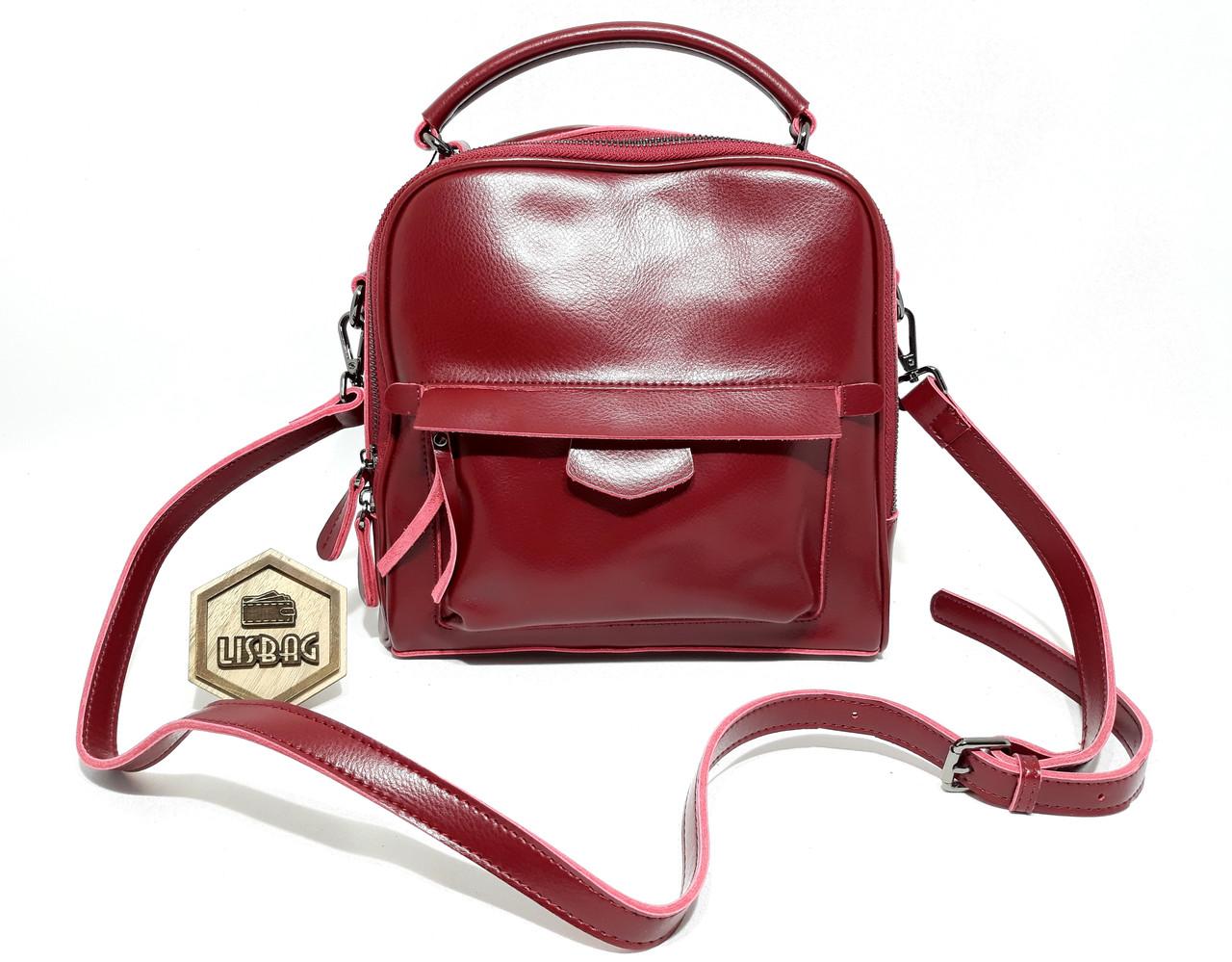 def0ad8e7c73 Женская кожаная модная сумка классического стиля Бордового цвета - Интернет  магазин Lisbag в Умани