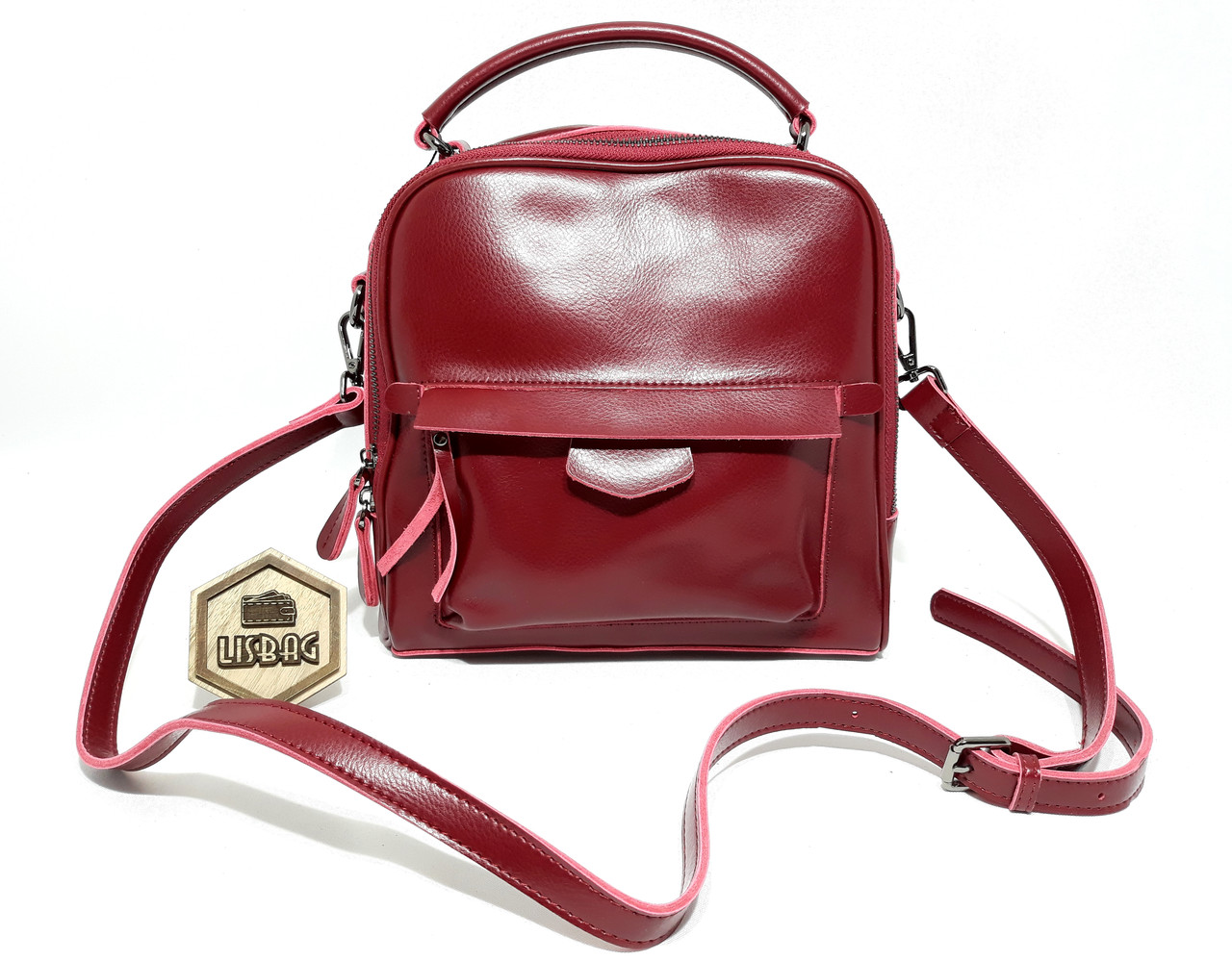 7ffe8b7e95dd Женская кожаная модная сумка классического стиля Бордового цвета ...