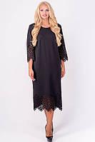 Платье Кайла прямое ниже колена с перфорацией большого размера 52-60 батал черное