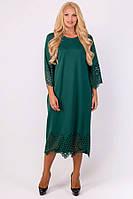 Платье Кайла прямое ниже колена с перфорацией большого размера 52-60 батал зеленое