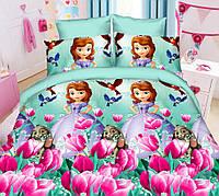 Детское полуторный размер постельное белье «София с тюльпанами»