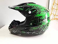 Шлем кроссовый Чёрно зелёный