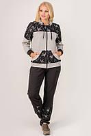 Спортивный костюм с гипюром Сайла для женщин большого размера 54-64 батал серый, фото 1