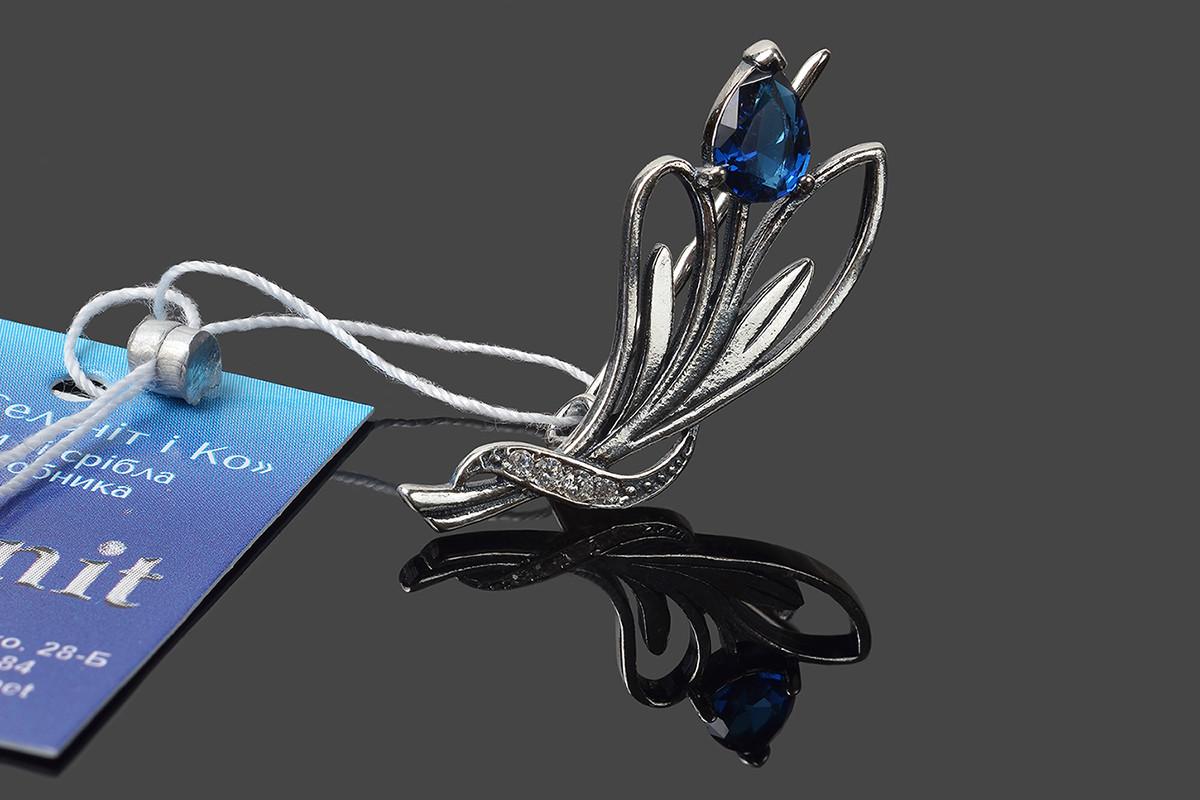 Серебряная брошь Синий тюльпан
