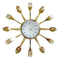 """Часы кухонные настенные """"Ножи, вилки, ложки"""" 37х37см (золото)"""