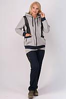 Спортивний костюм з шкіряними вставками Шарлін для жінок великого розміру 54-64 батал сірий, фото 1
