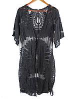 Красивая черная кружевная пляжная туника-накидка.