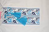 Вишиванка для дівчинки з довгим рукавом SmileTime, блакитний візерунок (ДИТЯЧА), фото 2