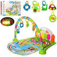 Коврик Развивающий для младенца  BM 6016-2 дуга, подвески 5 шт, пианино, музыка, свет,74х53 см