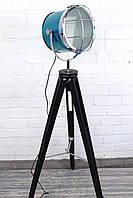 Торшер светильник прожектор в стиле лофт Модель 18 на деревяной треноге, фото 1