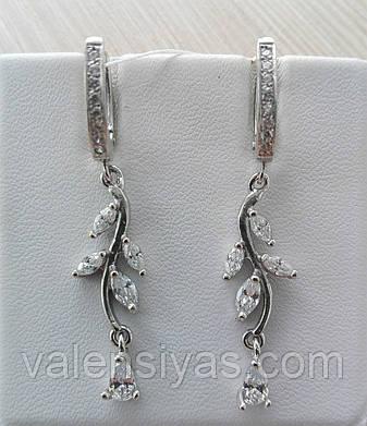 Серебряные серьги-висюльки в форме веточки, фото 2