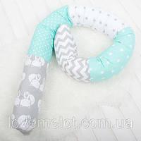 """Подушка многофункциональная для сна и кормления, для беременных и деток """"мятно - серой гамме"""""""