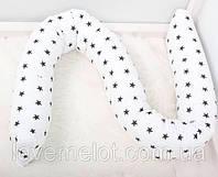 """Подушка многофункциональная для сна и кормления, для беременных и деток """"Черные звездочки"""""""