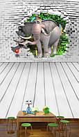 """3D фотообои детские """"Мультяшный слон"""""""