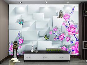 """3D фотообои """"Ярко-розовые цветы, кубики"""""""