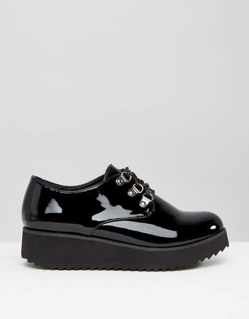 Лаковые лоферы женские asos туфли чёрные на платформе London Rebel