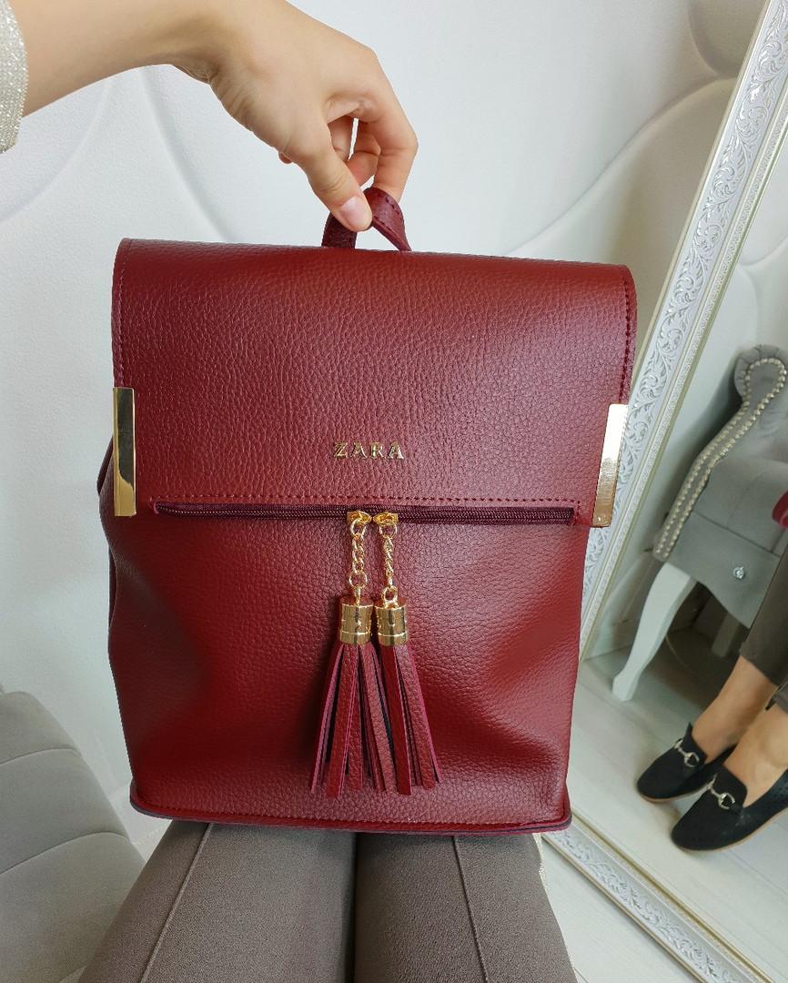 Сумка-рюкзакв стиле ZARA бордовый