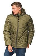 Мужская зимняя куртка с капюшоном 46-54 размера хаки