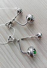 Оригинальные серебряные сережки с фианитами, фото 3